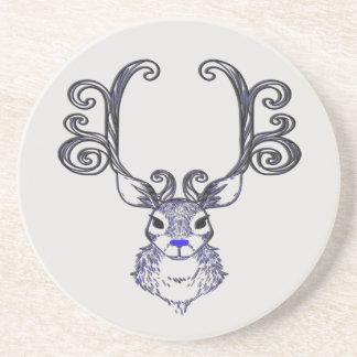 Dessous de verre mignons de renne bleu de nez de