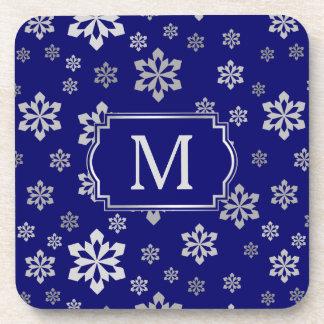 Dessous-de-verre Monogramme argenté de flocon de neige sur le bleu