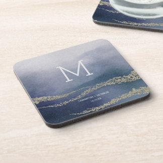 Dessous-de-verre Monogramme élégant inondé de mariage de surf