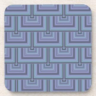 Dessous-de-verre motif Bleu-gris d'échelles de carré de rayures