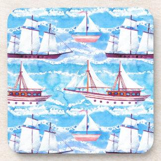 Dessous-de-verre Motif de bateaux de navigation d'aquarelle