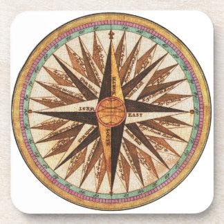 Dessous-de-verre Navigation vintage de navigateur de la boussole du