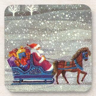 Dessous-de-verre Noël vintage, cheval Sleigh ouvert du père noël
