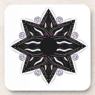 Dessous-de-verre Noir de luxe d'ornement sur le blanc