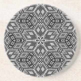 Dessous de verre noirs et blancs de grès de cubes