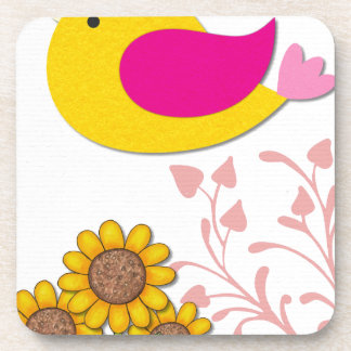 Dessous-de-verre oiseau floral, art, conception, beau, nouvelle,