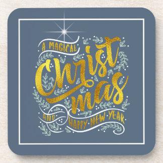 Dessous-de-verre Or magique ID441 de typographie de Noël