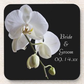 Dessous-de-verre Orchidée blanche sur le mariage noir