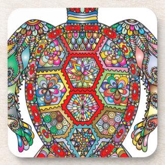 Dessous-de-verre Ornamental décoratif de fleurs florales de tortue
