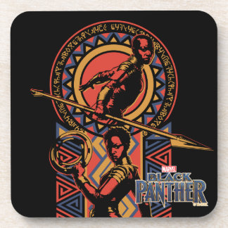 Dessous-de-verre Panthère noire | Okoye et panneau de Nakia