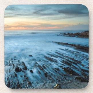 Dessous-de-verre Paysage marin bleu au coucher du soleil, la