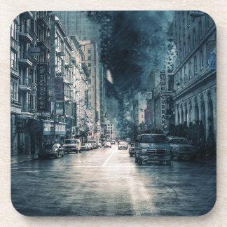 Dessous-de-verre Paysage urbain orageux
