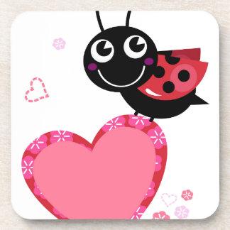 Dessous-de-verre Petite abeille mignonne rouge avec des points