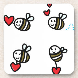 Dessous-de-verre Peu d'abeilles de vol sur le blanc