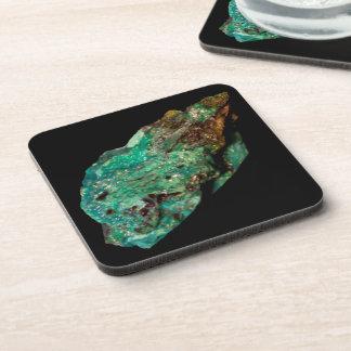 Dessous-de-verre Photo minérale de malachite verte sur l'arrière -