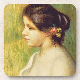 Dessous-de-verre Pierre une jeune femme de Renoir | avec des fleurs