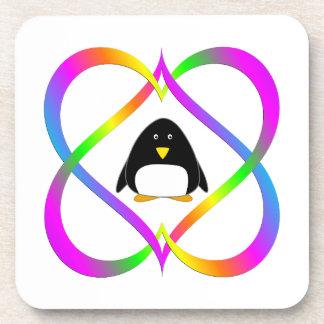 Dessous-de-verre Pingouin d'amusement en liant des coeurs