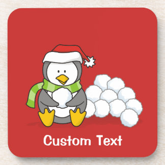 Dessous-de-verre Pingouin de Noël reposant avec les boules un peu