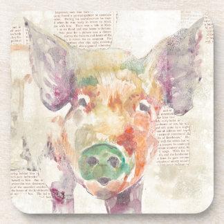 Dessous-de-verre Porc de collage de ferme d'aquarelle