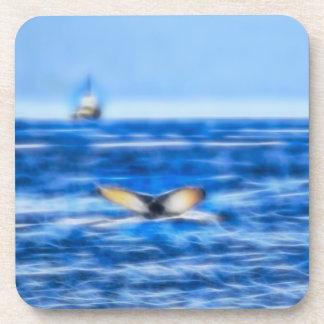 Dessous-de-verre Queue et bateau de baleine sur la fractale