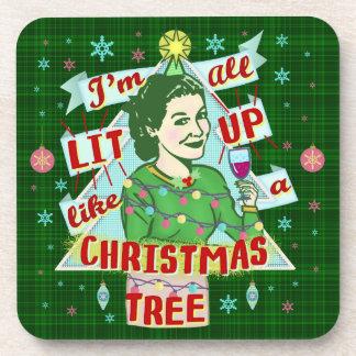 Dessous-de-verre Rétro Lit potable de femme d'humour de Noël drôle