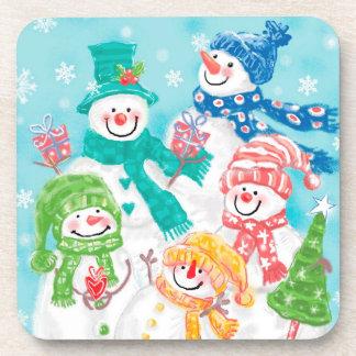 Dessous-de-verre Rétro Noël de bonhomme de neige heureux