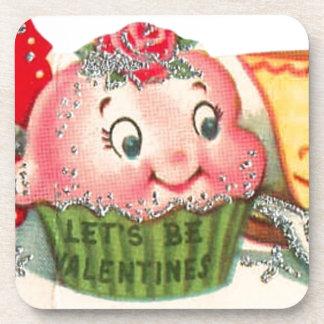 Dessous-de-verre Rétro Saint-Valentin vintage de petit gâteau et de