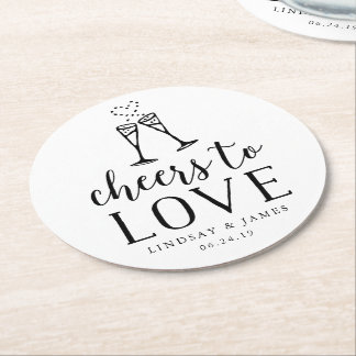 Dessous-de-verre Rond En Papier Acclamations pour aimer épouser