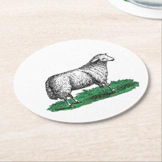 Dessous-de-verre Rond En Papier Animaux de ferme vintages de brebis de moutons