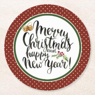Dessous-de-verre Rond En Papier Aquarelle de Noël | - citation de bonne année