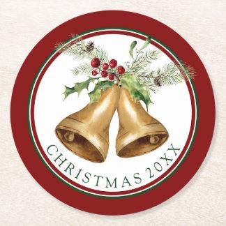 Dessous-de-verre Rond En Papier Aquarelle de Noël | - gui et Bells de houx