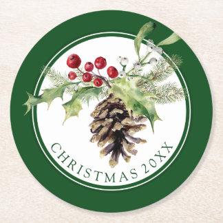 Dessous-de-verre Rond En Papier Aquarelle de Noël | - houx vintage et Pinecone
