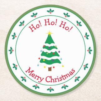 Dessous-de-verre Rond En Papier Arbre de Noël de Joyeux Noël