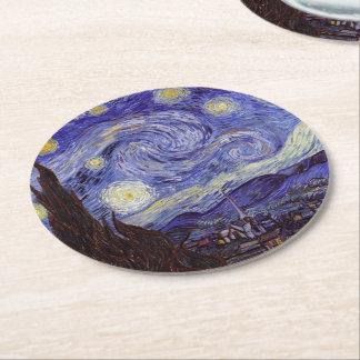 Dessous-de-verre Rond En Papier Beaux-arts de cru de nuit étoilée de Vincent van