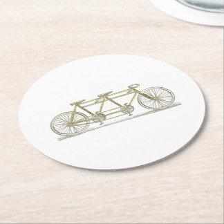 Dessous-de-verre Rond En Papier Bicyclette vintage construite pour deux/or tandem