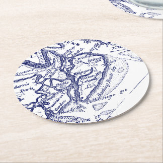 Dessous-de-verre Rond En Papier Bleu marine vintage de carte de Sc de Hilton Head