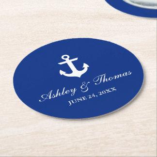 Dessous-de-verre Rond En Papier Bleu nautique d'ancre de mariage