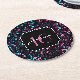 Dessous-de-verre Rond En Papier Bonbon rose et bleu coloré scintillant 16 à