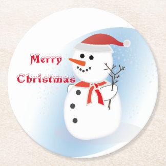Dessous-de-verre Rond En Papier Bonhomme de neige de Joyeux Noël de panneau de