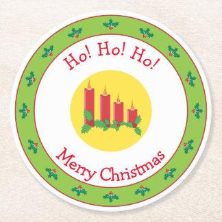 Dessous-de-verre Rond En Papier Bougies et houx de Joyeux Noël