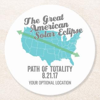 Dessous-de-verre Rond En Papier Chemin 2017 d'éclipse solaire de la totalité