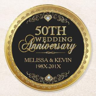 Dessous-de-verre Rond En Papier cinquantième Noir d'anniversaire de mariage et