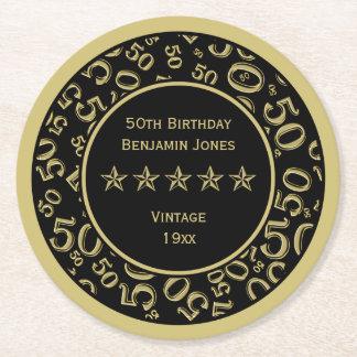 Dessous-de-verre Rond En Papier cinquantième Or de fête d'anniversaire/motif rond