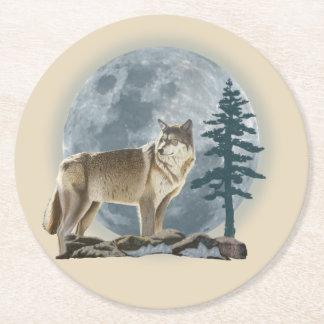 Dessous-de-verre Rond En Papier Conception de loup et de lune pour le caboteur de