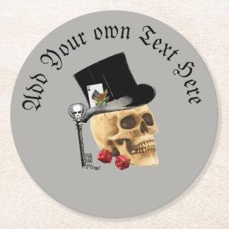 Dessous-de-verre Rond En Papier Crâne de jeu gothique de mariés
