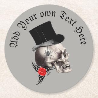 Dessous-de-verre Rond En Papier Crâne gothique de marié