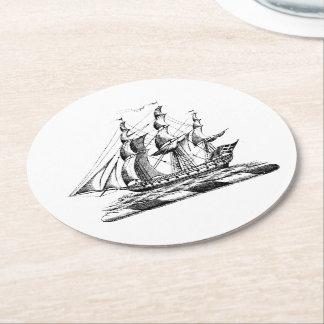 Dessous-de-verre Rond En Papier Crête nautique vintage héraldique de bateau de