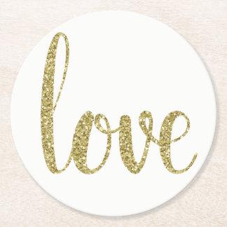Dessous-de-verre Rond En Papier Dessous de verre d'amour de scintillement d'or,