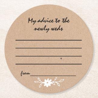 Dessous-de-verre Rond En Papier Dessous de verre de papier de conseil de mariage
