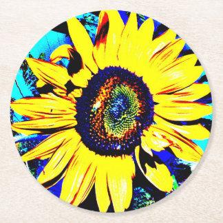 Dessous-de-verre Rond En Papier Dessous de verre de papier ronds de tournesol